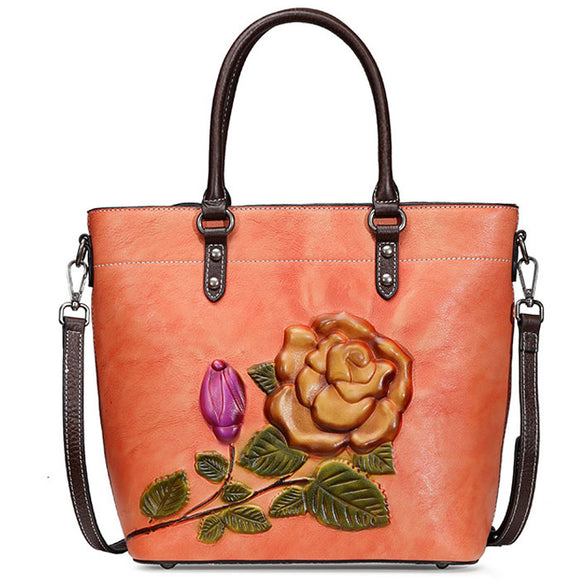 Retro Rose Large Original Leather Handbag 3D Flower Leaves Shoulder Bag
