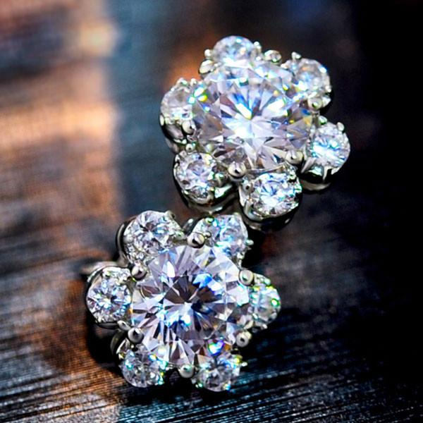 Edelweiss Zircon Silver Ear Studs Earrings - lilyby