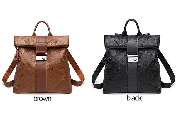 Retro Brown Multi-function Handbag PU Student College Backpack For Big Sale!- Fowish.com