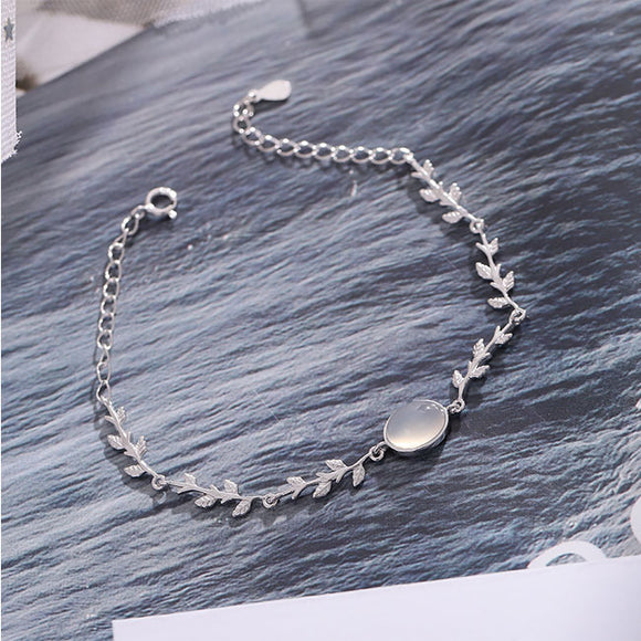 Unique Lover Present Girlfriend Gift Women Bracelet Moonstone Leaves Silver Bracelet