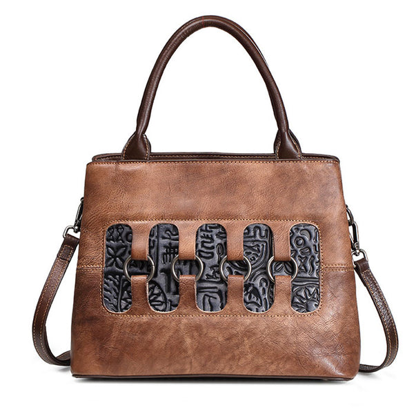 Retro Hollow Rings Leather Unique Handbag Shoulder Bag