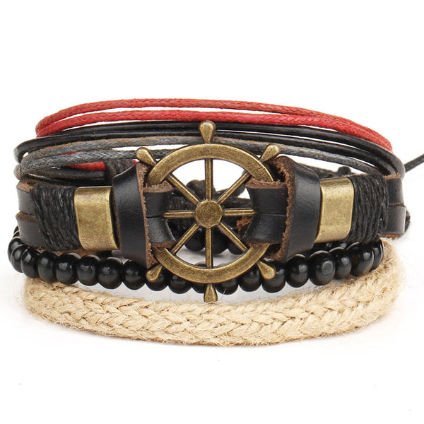 Punk Hand Woven Multi-layer Bangle Bead Bracelet Vintage Rudder Leather Bracelet