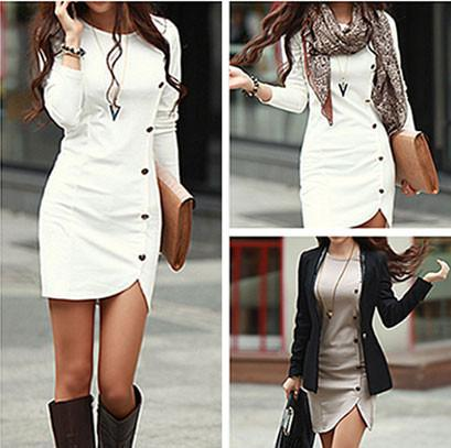 Unique Slit Single Breasted Long Sleeve Dresses For Big Sale!- Fowish.com