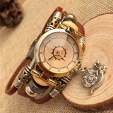 Retro Snail Charm Leather Bracelet Watches - lilyby