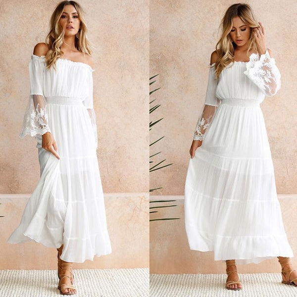 Sweet Strapless Skirt White Lace Cross Neck Summer Dress