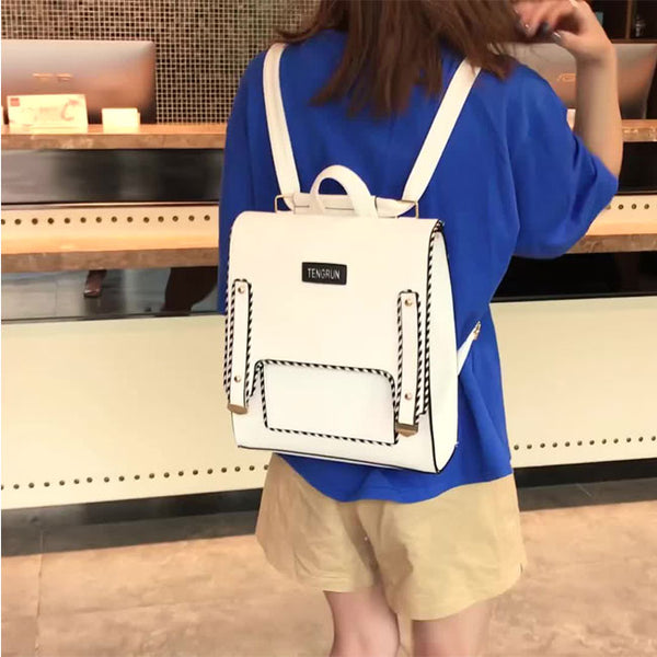 Leisure Abstract Line Pure Color Square School Backpack