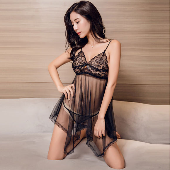 Sexy Pajamas Nightdress  Lace Mesh T Large Size Sling Emotional Perspective Women Lingerie