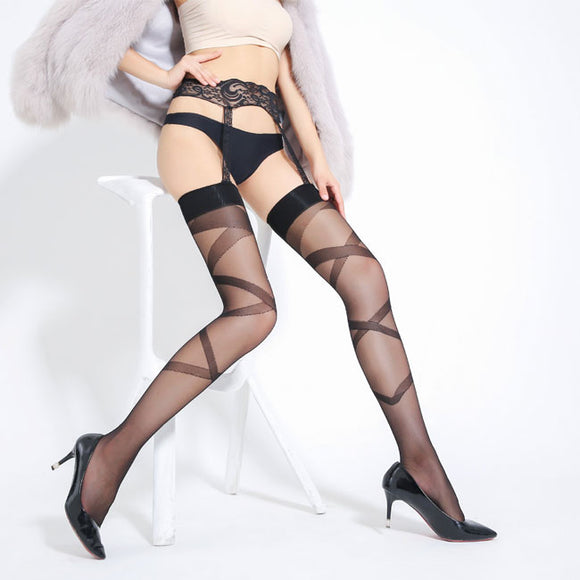 Sexy Jacquard Perspective Stockings Over Knee Socks Garter Cross Women Lingerie