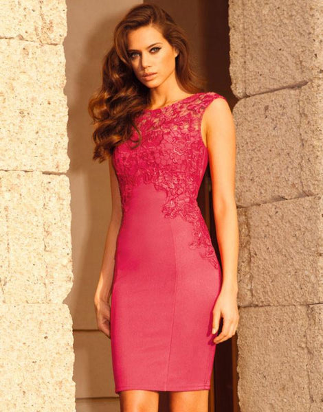 Sweet Rose Red Embroidered Stretch Lace Dress For Big Sale!- Fowish.com