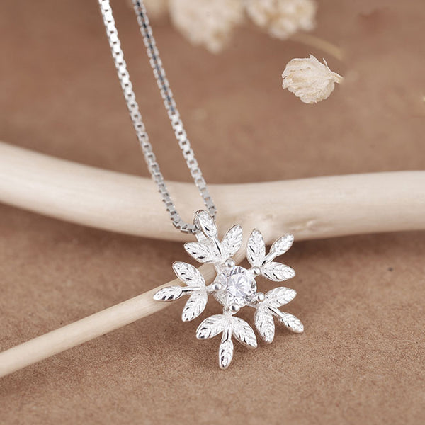 Cute Snowflake Silver Zircon Friend Gift Jewelry Accessories Women Necklace