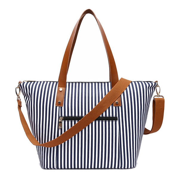 Leisure Stripes Large Canvas Women Handbag Beach Stripe Shoulder Bag