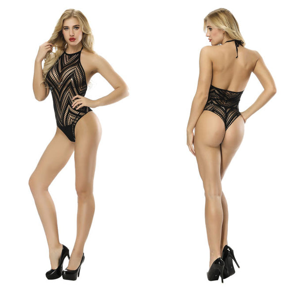 Sexy Black Fish Net Conjoined Women Lingerie