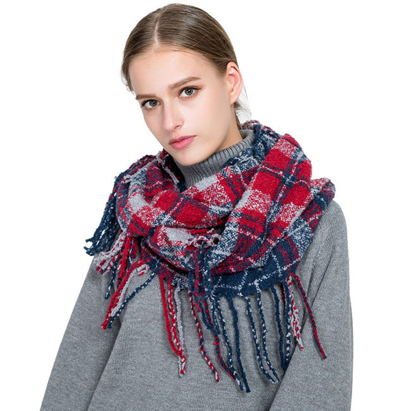 Fashion Grid Warm Scarf Tassel Women Winter Autumn Scarf