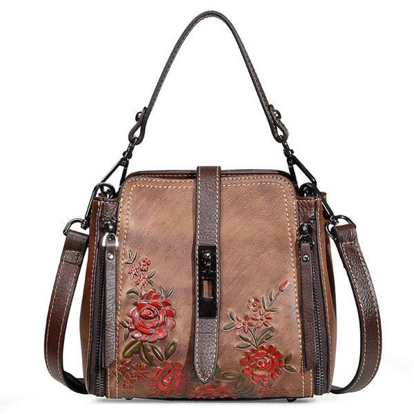 Retro Double Vertical Zippers Single Buckle Vintage Flower Shoulder Bag