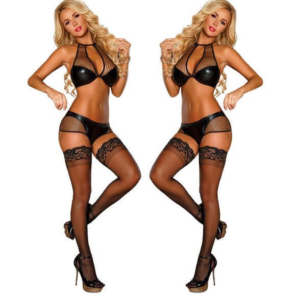 Sexy PU Tight-fitting Bra Set Fish Net Hollow Patent Leather Uniform Intimate Lingerie
