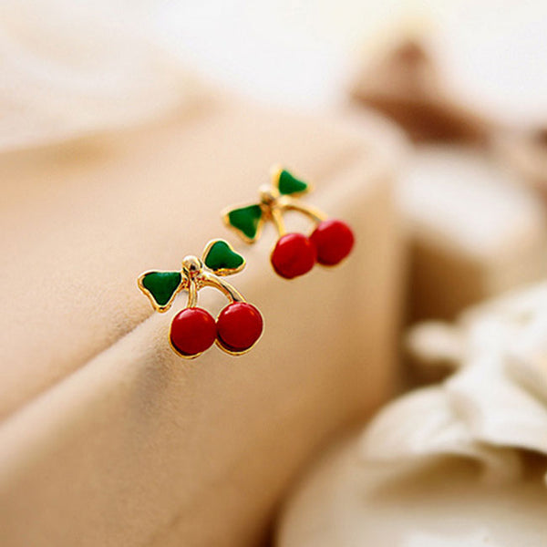 Fashion Green Leaves Red Cherry Women Earrings Studs