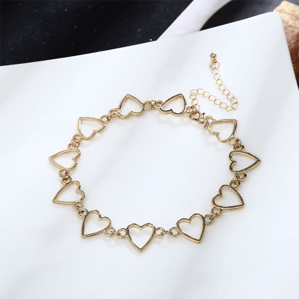 Cute Simple Love Heart Shaped Hollow Chain Personality Women Necklace
