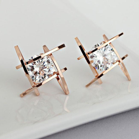 Fashion Unique Tic Tac Toe Triangle Zircon Earrings Studs For Big Sale!- Fowish.com