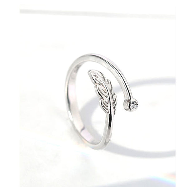 Cute Feather Crystal Ring Silver Plume Open Ring