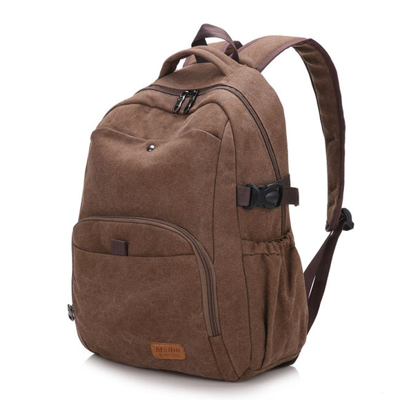 Retro Simple School Bag Man Travel Rucksack Camping  Outdoor Thick Canvas Large Backpack