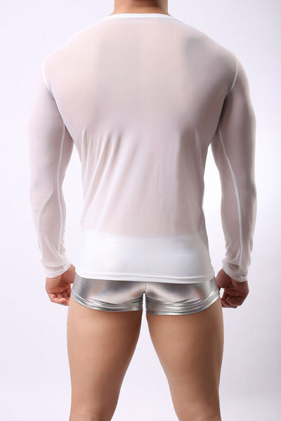 Sexy Round Neck Mesh Slim Man Transparent Long Sleeve Men's Lingerie