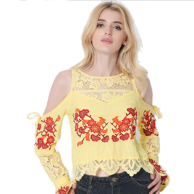 Embroidery Long Sleeve Tee Lace Splice Loose Shirt Blouse Ladies Tops For Big Sale!- Fowish.com