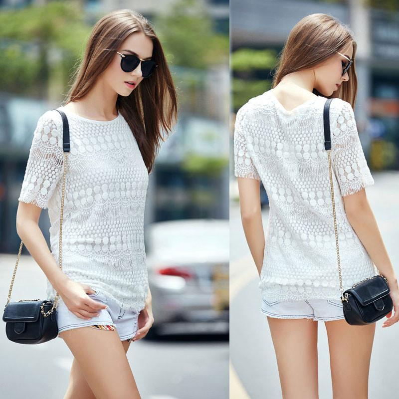 Slim Hollow Out Crochet Lace Top Short-sleeve T-shirt For Big Sale!- Fowish.com