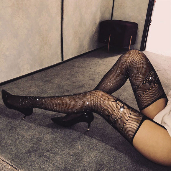 Sexy Fishnet Garter Pantyhose Hot Drilling  Lingerie Stockings