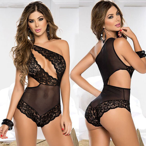 Sexy Mesh Lace Irregular Black Hollow Conjoined Lady Intimate Lingerie