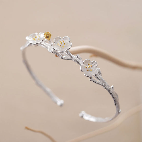 Cute Flower Cherry Branch Lover Gift Jewelry Women Bracelet Silver Open Bracelet