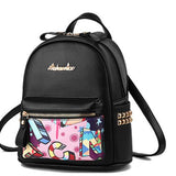Cute Cartoon Graffiti Rivet School Bag Student Backpack For Big Sale!- Fowish.com