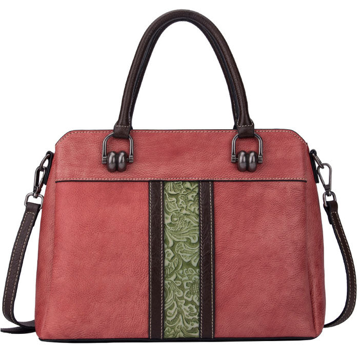 Retro Vertical Pattern Carving Handbag Large Contrast Color Cowhide Shoulder Bag
