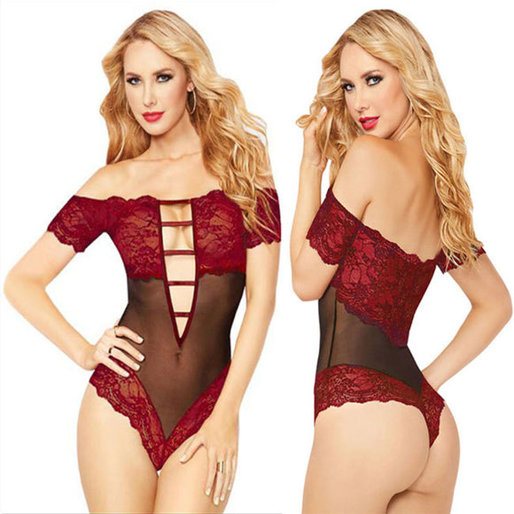 Sexy Deep V Temptation Perspective Conjoined Lace Coveralls Hollow Intimate Lingerie