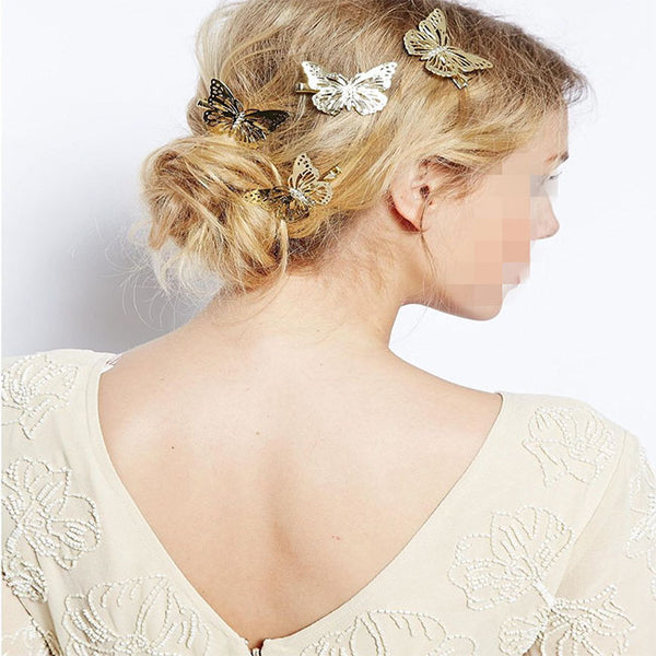 Fashion Hollow Butterfly Hairpin Women Side Hair Clips Hair Accessories