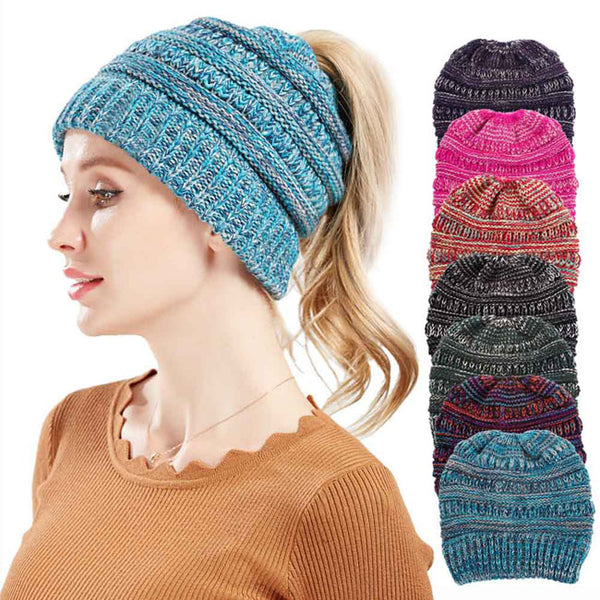 Fashion Mixed Color Messy Bun Soft Warm Winter Women Hat Knit Multifunction Hairbands