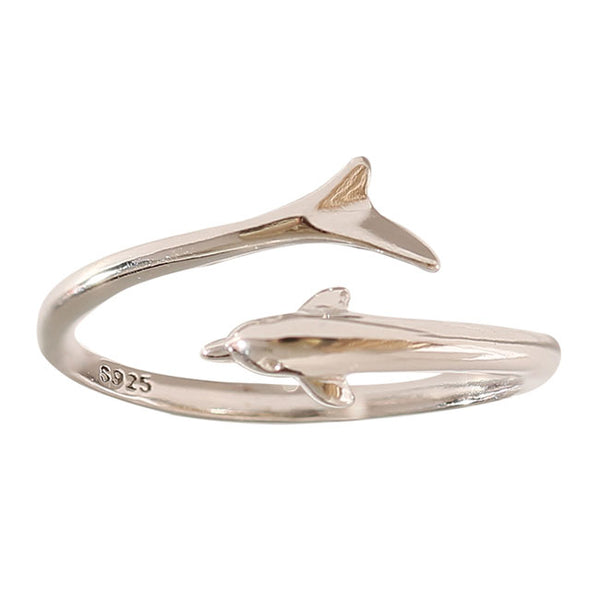 Unique Dolphin Female Open Ring Girl Silver Tail Romantic Gift Ring