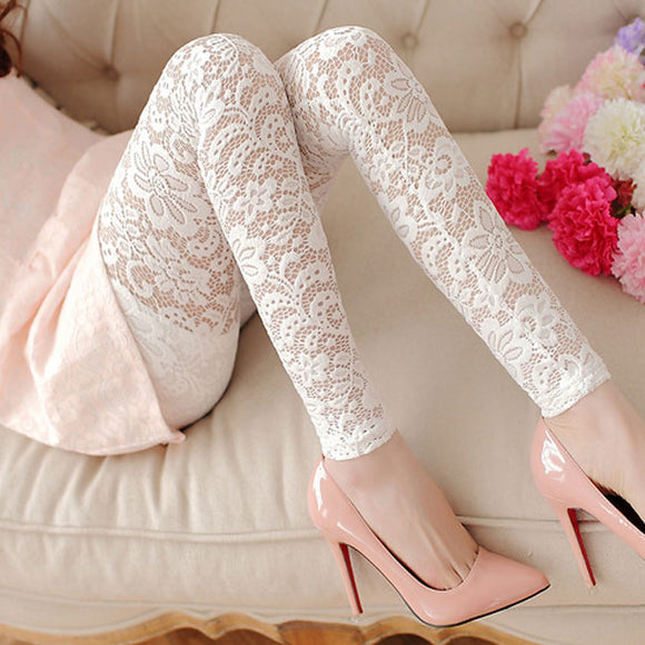 Fashion Hollow Flower Lace Carved Female Leggings