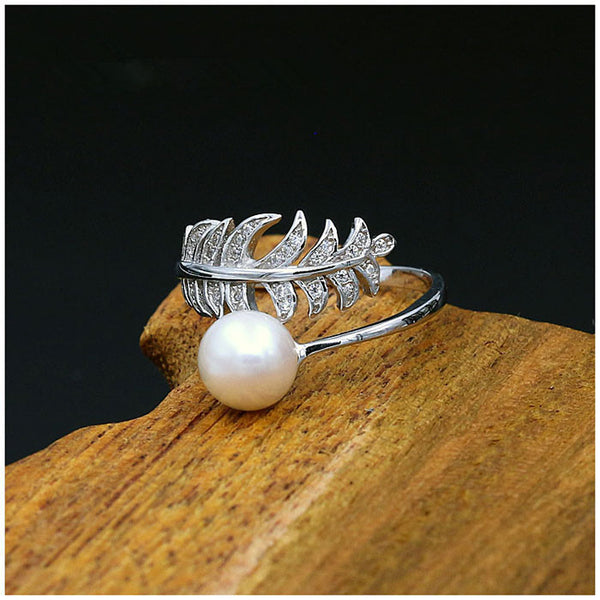 Fresh Plume Girl's Ring Feather Pearl Open Silver Ring