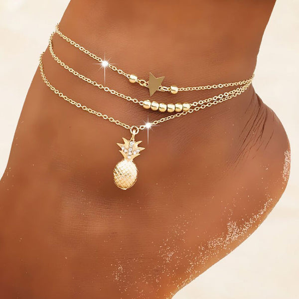 Leisure Star Bead Chain Beach Gold Pineapple 3-layer Women's Anklet