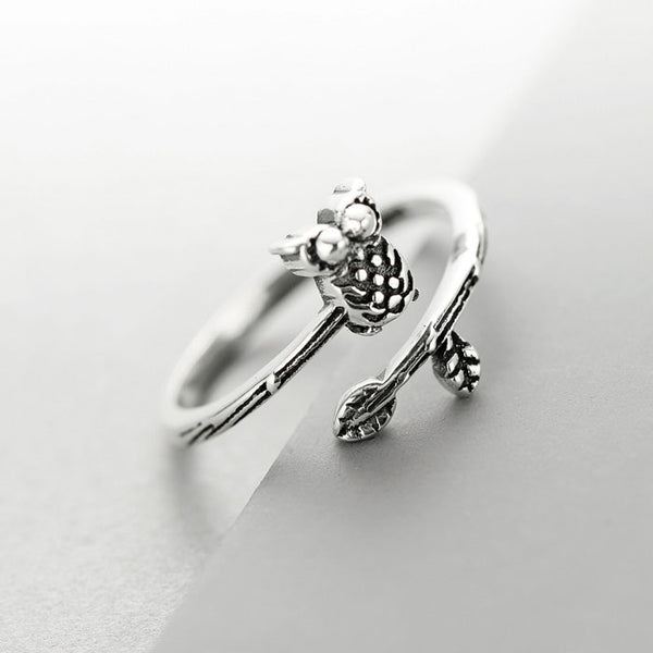 Original Ethnic Style Thai Silver Owl Ring Art Branch Open Ring