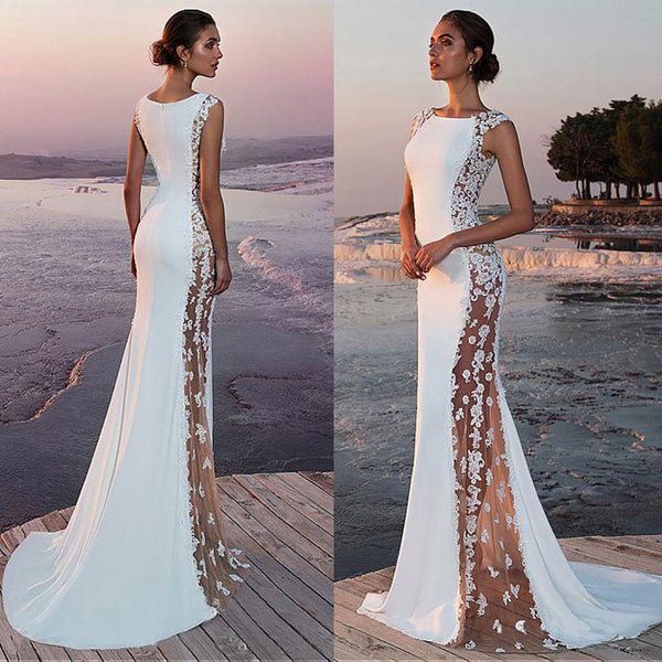 New Lace Sleeveless White Bridesmaid  Sideways Perspective Long Dress Party Dress