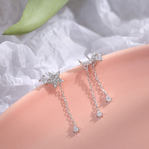 Unique Design Shining Star Moon Crystal Asymmetry Tassel Drop Women's Silver Earrings Studs