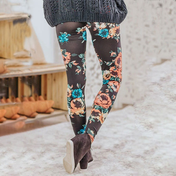 Fashion Black Flower Rose Print Yoga Pants Girls Leggings