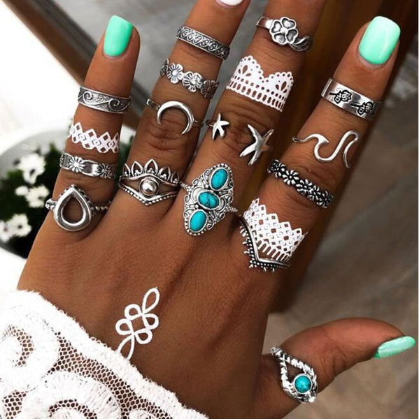 Retro Moon Flower Star Eyes Alloy Carved Turquoise 16 Piece Set Combination Girls Rings