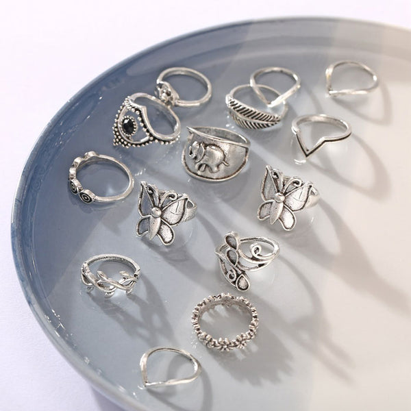 Original Butterfly Elephant Feather Leaves 12 Piece Set Combination Women Rings