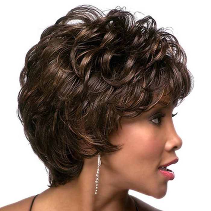 New Oblique Bangs Fluffy Short Curly Hair Women's Teen Lace Hair Wig