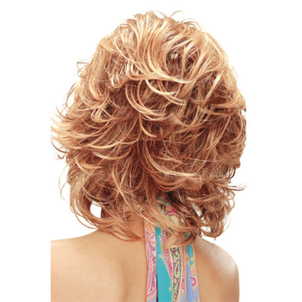 New White Lady's Diagonal Bangs Hair Hood Short Curly Golden Lace Hair Wigs