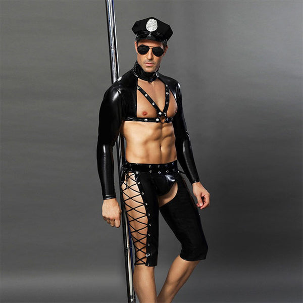 Man Lingerie For Man Gay Bar Performance Clothing Black Nightclub Temptation Leather Rivet Police Uniform Cosplay Lingerie