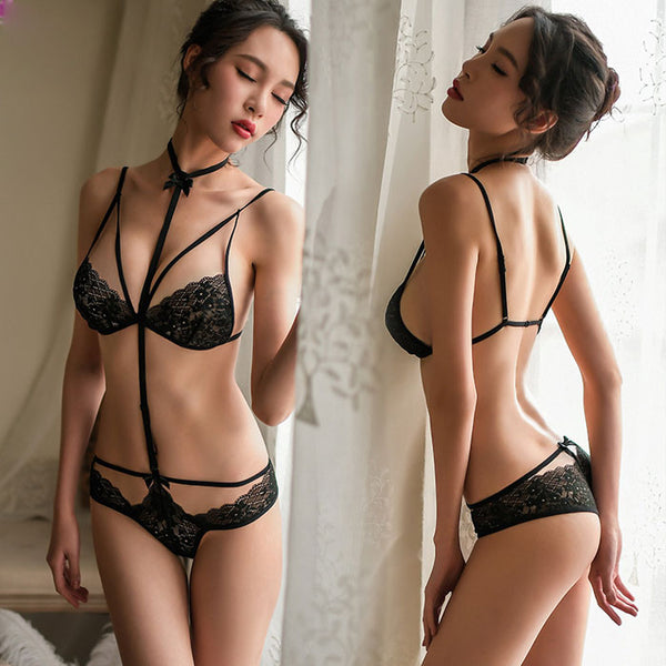 Sexy Lace Neck Ring Bra Set Ladies Tied Style Passion Intimate Lingerie