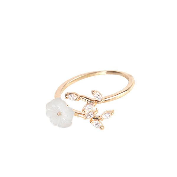 Cute Cherry Flower Shell Crystal Leaves Branches Women's Open Ring